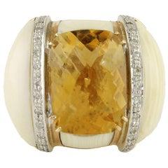Topaz Diamonds Bone Rose Gold Ring