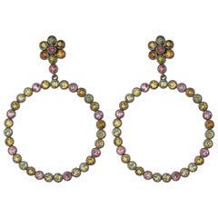 8.84 Carat Multi Tourmaline Flower Drop Earring in Sterling Silver