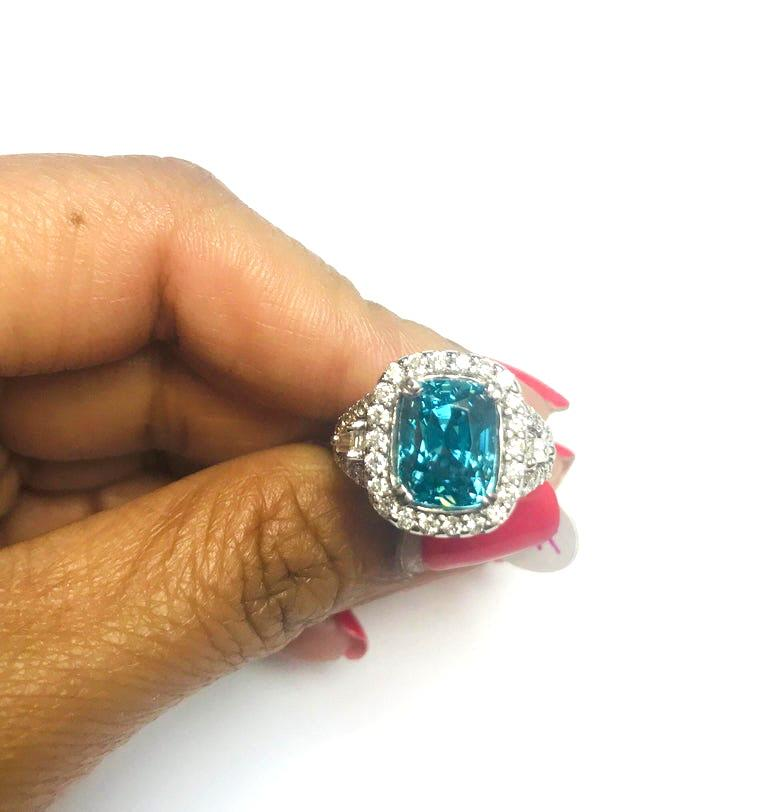 8.85 Carat Blue Zircon Diamond 14 Karat White Gold Engagement Ring In New Condition For Sale In Los Angeles, CA