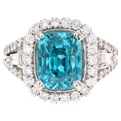8.85 Carat Blue Zircon Diamond 14 Karat White Gold Engagement Ring