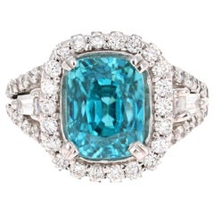 8.85 Carat Blue Zircon Diamond 14 Karat White Gold Engagement Ring