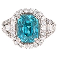 8.85 Carat Blue Zircon Diamond White Gold Ring