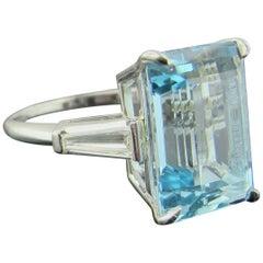 8.85 Carat Emerald Cut Aquamarine with Diamonds in Platinum