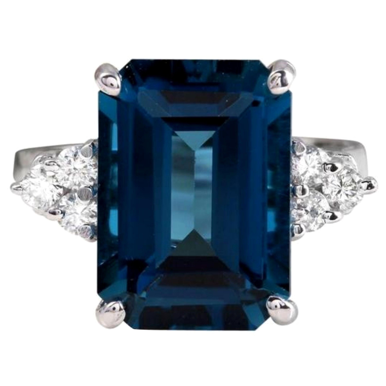 8.85 Carat Natural Impressive London Blue Topaz and Diamond 14K White Gold Ring