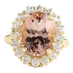 8.85 Carat Natural Morganite 18 Karat Yellow Gold Diamond Ring