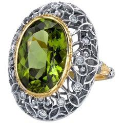 8.85 ct. Peridot and Diamond 18k Yellow Bezel White Gold Florentine Dome Ring