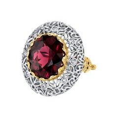 8.86 Carat Rhodolite Garnet and Diamond White and Yellow Gold Cocktail Ring