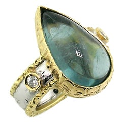8.86ct Blue Tourmaline and Diamond 18kt Gold Engraved Ring, Handmade in Italy