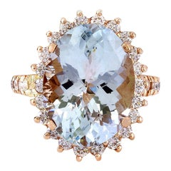8.88 Carat Natural Aquamarine 18 Karat Solid Rose Gold Diamond Ring