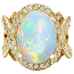 8.88 Carat Natural Opal 18 Karat Solid Yellow Gold Diamond Ring