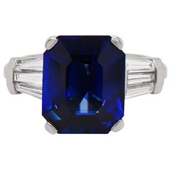 8.88 Carat Royal Blue Emerald Cut Natural Sapphire and Diamond Engagement Ring