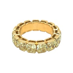 8.88 Carats Yellow Diamonds 18 Karat Yellow Gold Eternity Band Ring