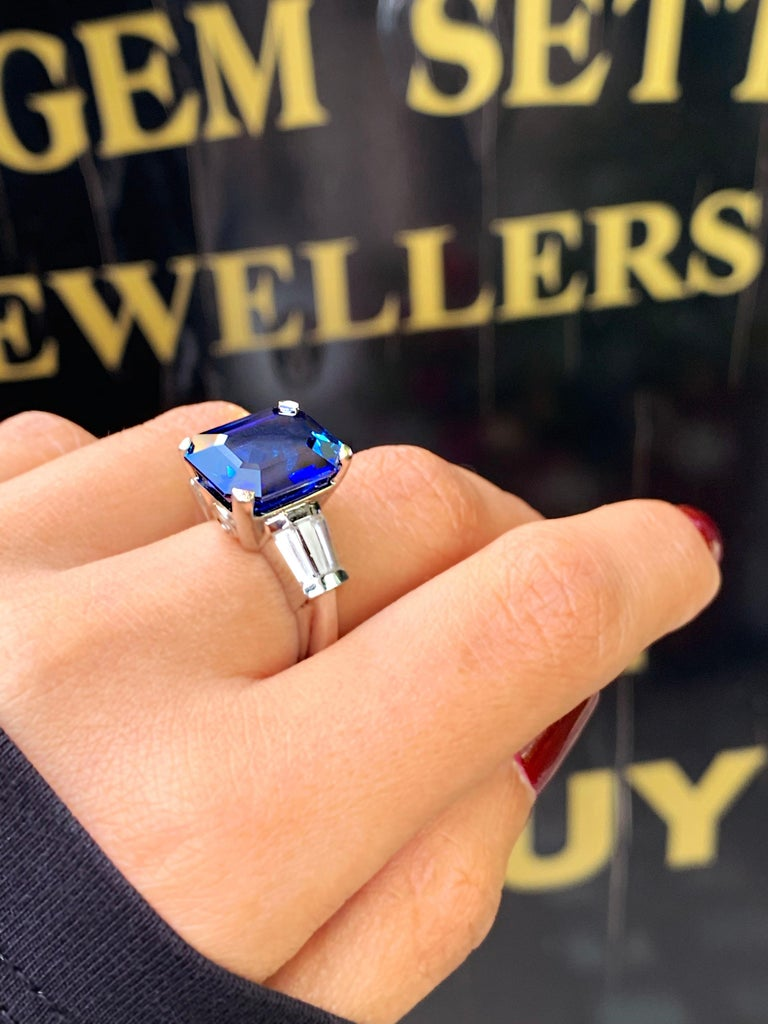 8.88 Carat Royal Blue Emerald Cut Natural Sapphire and Diamond Engagement Ring For Sale 5
