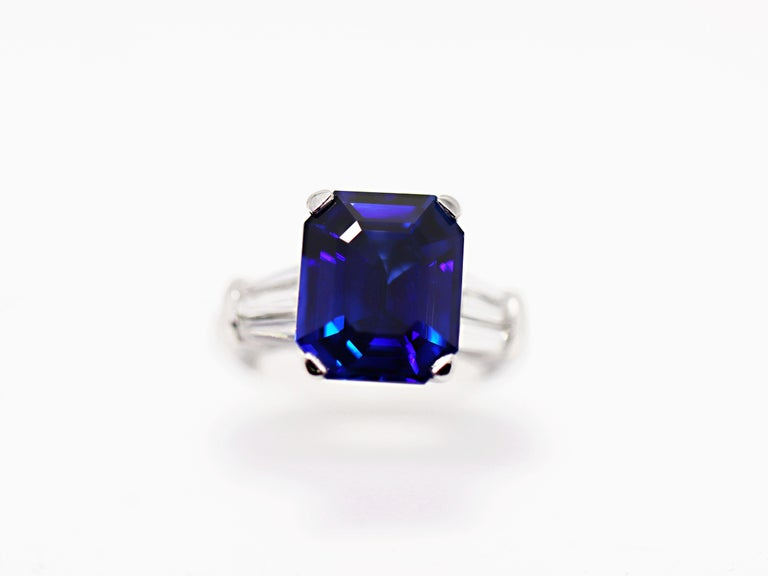 8.88 Carat Royal Blue Emerald Cut Natural Sapphire and Diamond Engagement Ring For Sale 6