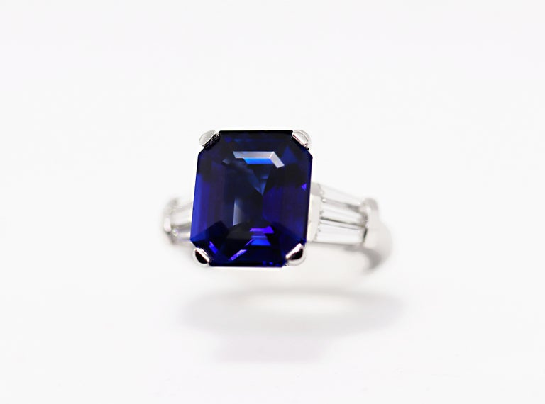 8.88 Carat Royal Blue Emerald Cut Natural Sapphire and Diamond Engagement Ring For Sale 8