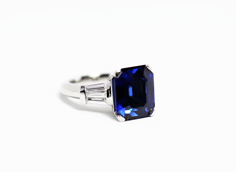 Women's 8.88 Carat Royal Blue Emerald Cut Natural Sapphire and Diamond Engagement Ring For Sale