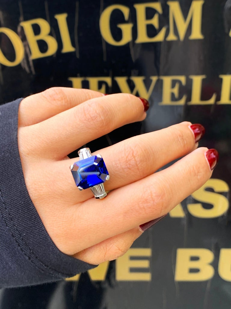 8.88 Carat Royal Blue Emerald Cut Natural Sapphire and Diamond Engagement Ring For Sale 1