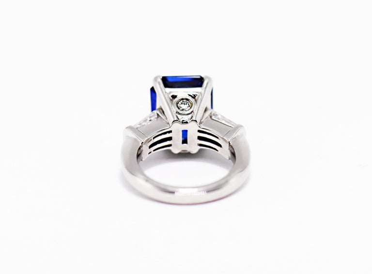 8.88 Carat Royal Blue Emerald Cut Natural Sapphire and Diamond Engagement Ring For Sale 2