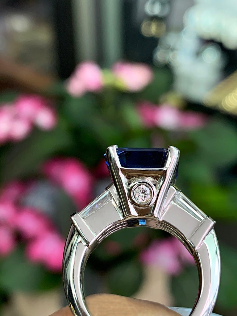 8.88 Carat Royal Blue Emerald Cut Natural Sapphire and Diamond Engagement Ring For Sale 3