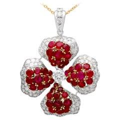 8.89 Carat Burmese Ruby 4.05 Carat Diamond Platinum Yellow Gold Drop Necklace