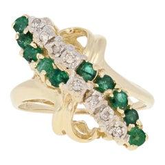 .88ctw Round Cut Emerald & Diamond Ring, 14k Yellow Gold Bypass