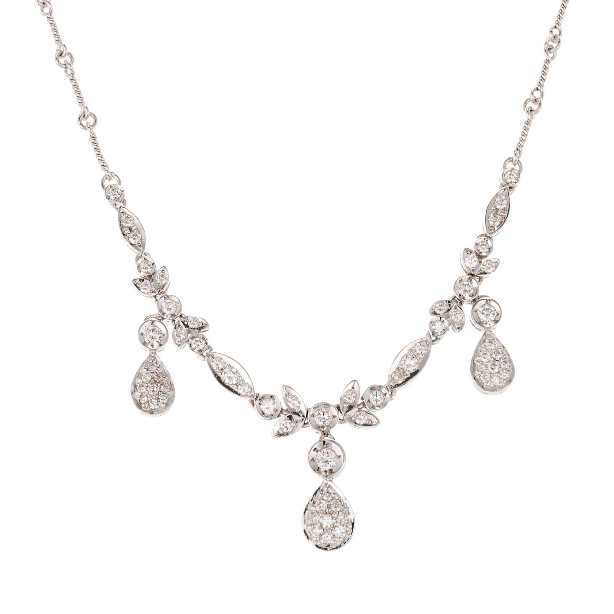 .89 Carat Round Diamond Dangle White Gold Necklace