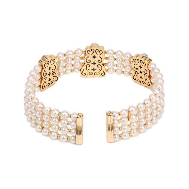 Round Cut 8.90 Carat 4-Row Pearl Diamond Yellow Gold Multi-Strand Choker Necklace