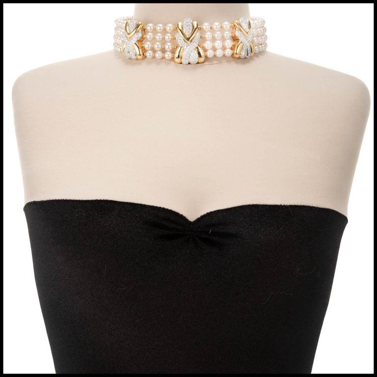 Women's 8.90 Carat 4-Row Pearl Diamond Yellow Gold Multi-Strand Choker Necklace