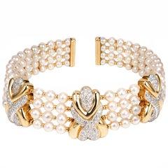 8.90 Carat 4-Row Pearl Diamond Yellow Gold Multi-Strand Choker Necklace