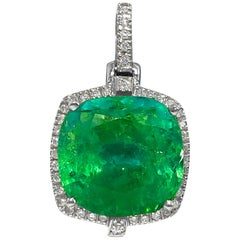 8.90 Carat Colombian Emerald and Diamond Pendant
