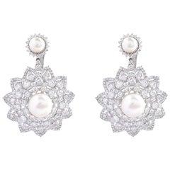 8.90 Carat Diamond 18 Karat White Gold Pearl Flower Earrings