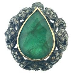 8.90 Carat Emerald 0.90 Carat Diamond Ring in Oxidized Sterling Silver, 18k Gold