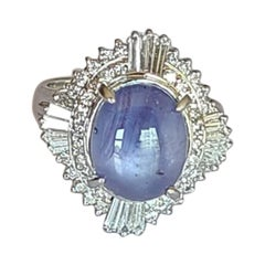 8.90 Carat Natural Star Sapphire Ring Set in Platinum with Diamonds