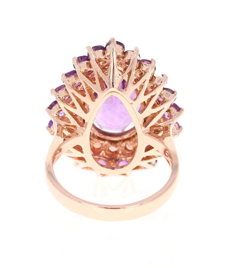 8.90 Carat Pear Cut Amethyst Sapphire 14 Karat Rose Gold Cocktail Ring In New Condition For Sale In San Dimas, CA