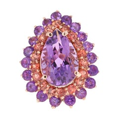 8.90 Carat Pear Cut Amethyst Sapphire 14 Karat Rose Gold Cocktail Ring