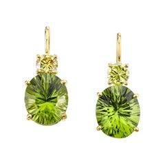 8.90 Carat Total Peridot, Yellow Diamond, Yellow Gold Lever Back Drop Earrings