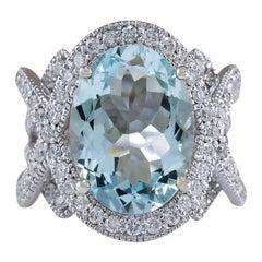8.91 Carat Aquamarine 18 Karat White Gold Diamond Ring