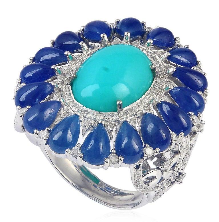 Contemporary 8.91 Carat Blue Sapphire Turquoise Diamond 18 Karat Cocktail Ring For Sale