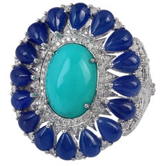 8.91 Carat Blue Sapphire Turquoise Diamond 18 Karat Cocktail Ring