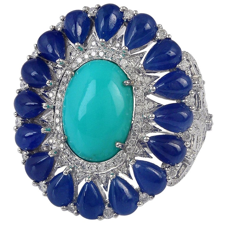 8.91 Carat Blue Sapphire Turquoise Diamond 18 Karat Cocktail Ring For Sale