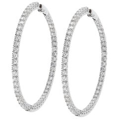 8.92 Carat White GVS Diamonds 18 Karat White Gold Big Hoop Earrings