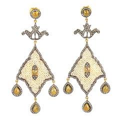8.93 Carat Pearl Diamond Earrings
