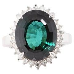 8.95 Carat Green Tourmaline and Diamond Cocktail Ring Set in Platinum