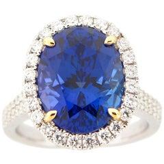 8.95 Carat Oval Tanzanite and Diamond Cocktail Ring