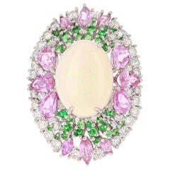 8.96 Carat Opal Pink Sapphire Tsavorite Diamond 18 Karat Gold Cocktail Ring