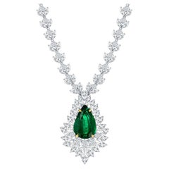 8.96 Carat Pear shape Emerald and Mix Shape Diamond Drop Necklace in Platinum