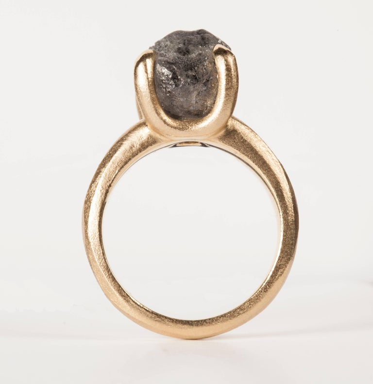 Contemporary 8.96 Carat Rough Black-Grey Diamond Solitaire Cocktail Ring For Sale