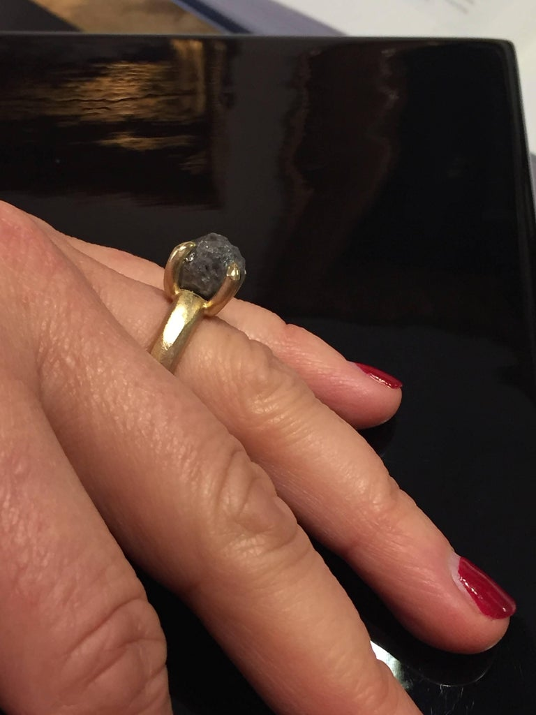 8.96 Carat Rough Black-Grey Diamond Solitaire Cocktail Ring For Sale 4