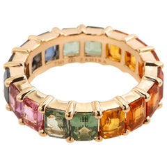 8.97 Carat Emerald Cut Rainbow Sapphire Eternity Band in 18 Karat Pink Gold