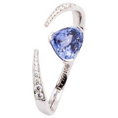 8.97 Carat Pear-Shaped Blue Sapphire and Diamond Cocktail Ring